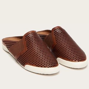 Frye Melanie brown perforated Leather mules shoes